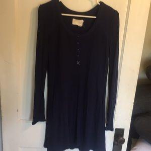Anthropologie Navy tunic dress waffle weave Sz M